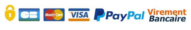 Paiement Sécurisé par CB, Mastercard, Visa, PayPal, Virement bancaire